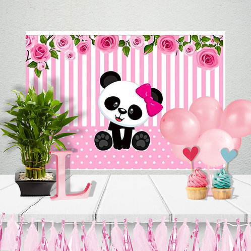 Panda  birthday Party Table Backdrop