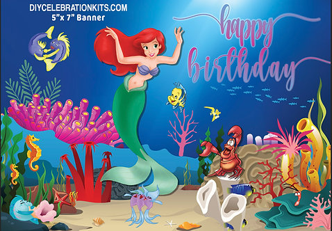 Little Mermaid Birthday Party Banner Background