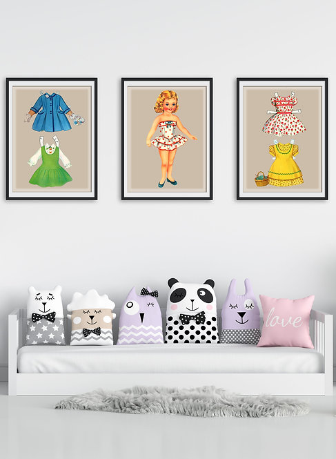 Paper Dolls Vintage Artwork Child's Art Room Decor Picture