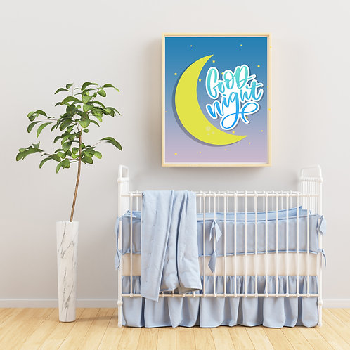 Good Night Artwork Child's Art Room Decor Picture