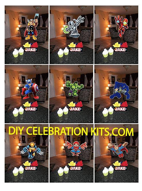 Super Hero Squad Birthday Party Centerpieces