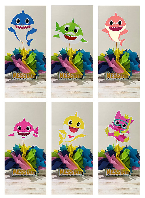Baby Shark Party Centerpieces decorations birthday party dirt bike motorc