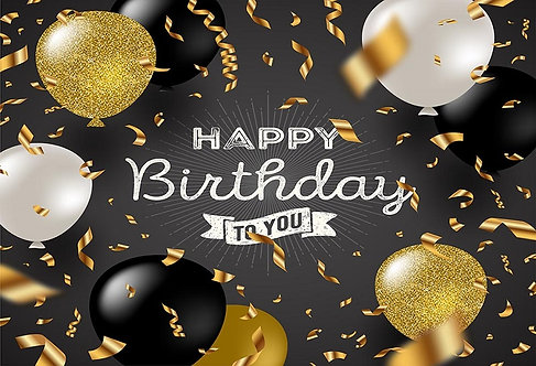 Happy Birthday Party Banner Gold Background Photography Prop Table