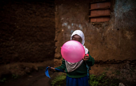 Girl with the pink balloon