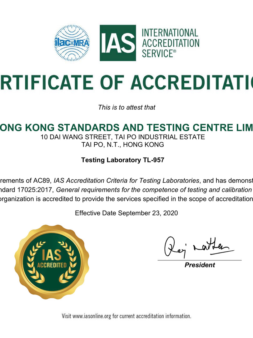 THE HONG KONG STANDARDS AND TESTING CENTRE