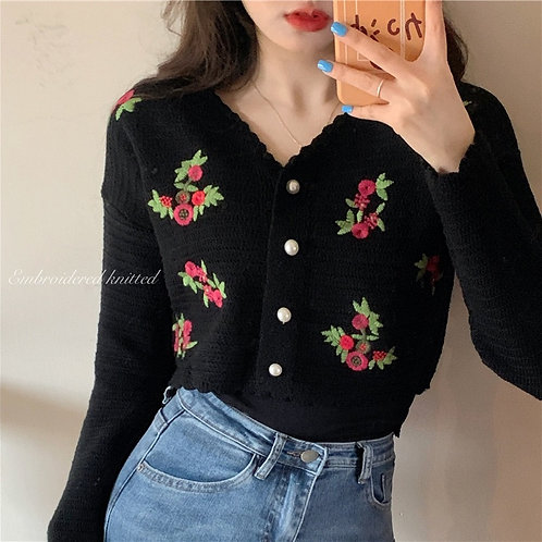 Retro Embroidered Flower Knitted Crop Cardigan H81068