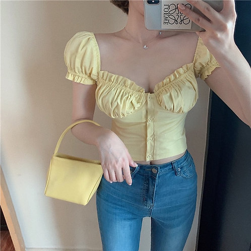 Plain light Yellow Corset Top