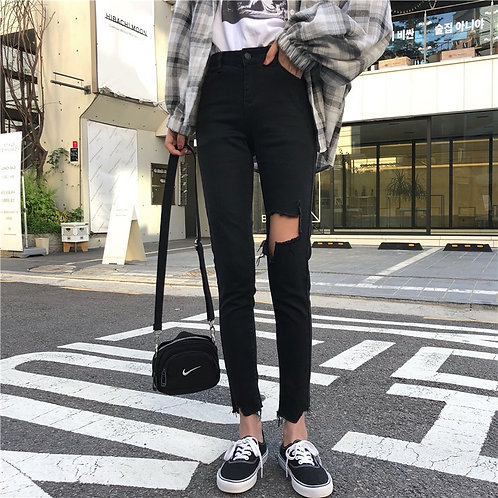 Black Ripped Jeans H5699