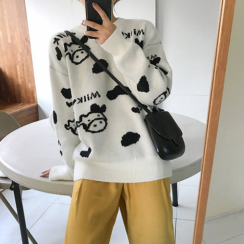Milk Cow Printed Knit Sweater H1410