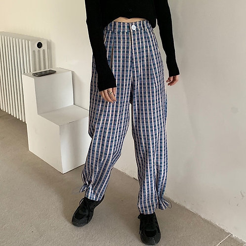 Plaid Harem Pants H10235