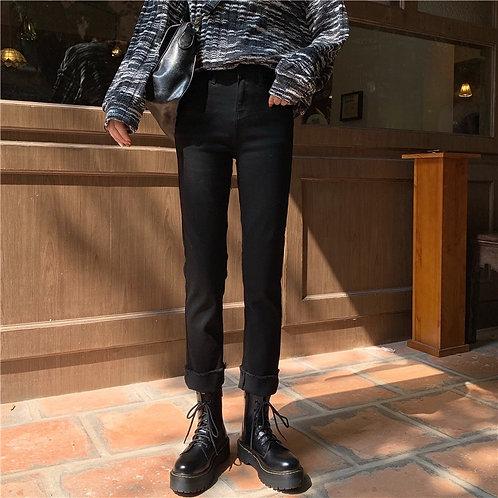 Black Straight Jeans H6838