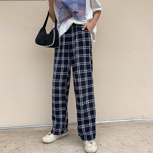 Plaid Harem pants H3959
