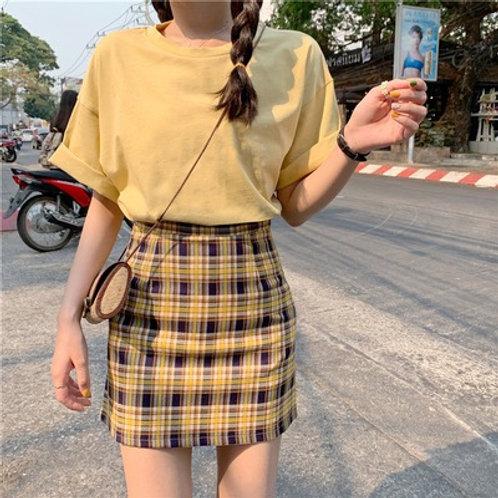 Casual Summer Grid Skirt with Shirt H61509