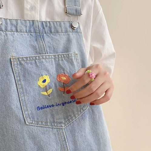 Embroidered Flower denim Overall H7435
