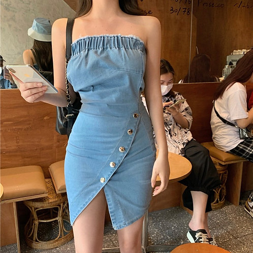 Denim Side Button Dress
