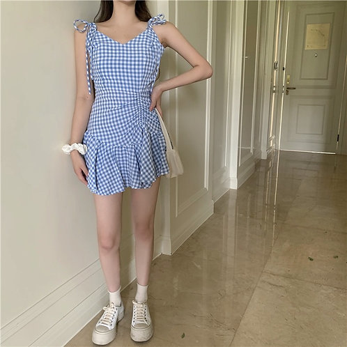 Light Blue Grid Ruffle Dress
