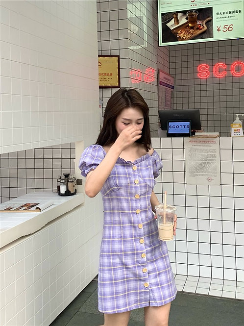 Purple Grid Button Up Dress H35014