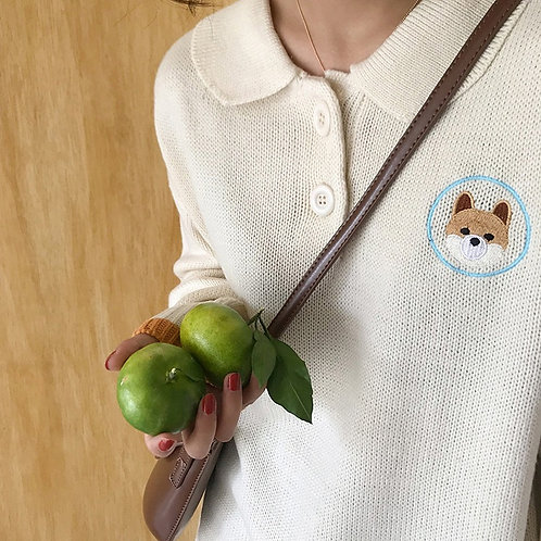 Dog Embroidered Collar Knit Shirt H1320