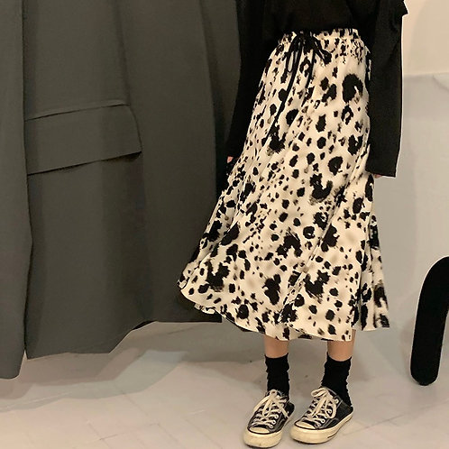 Black White Splash print Midi Skirt H10128
