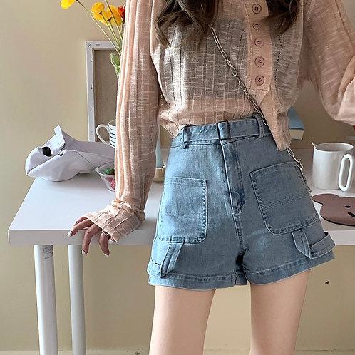 Big Pockets Wide Denim Shorts H8365