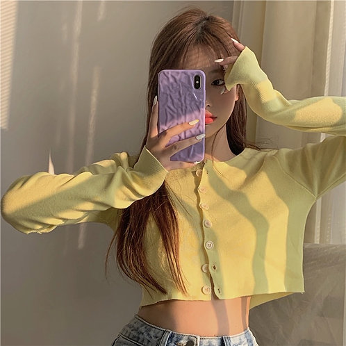 Yellow Button Up Knit Crop Outer