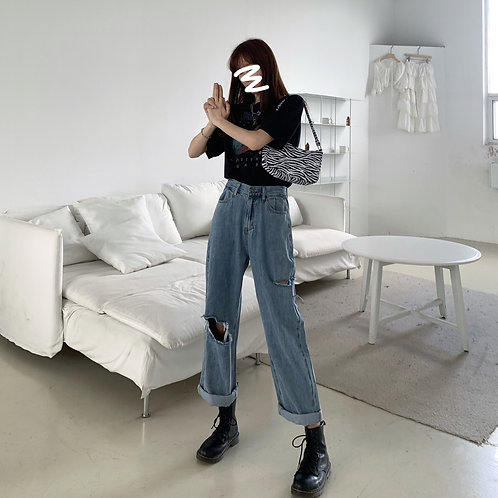 Leila Ripped Mom Jeans H8289