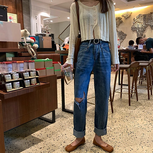Abigail Ripped Mom Jeans H8558