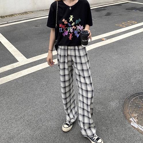 Grid Baggy Pants