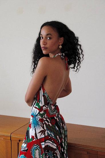 Print Mix Halterneck Maxi Dress