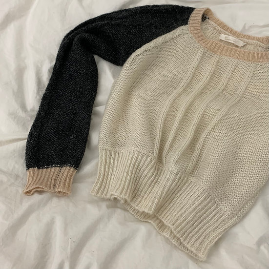 Mohair Cropped Colour Block Cable Knit