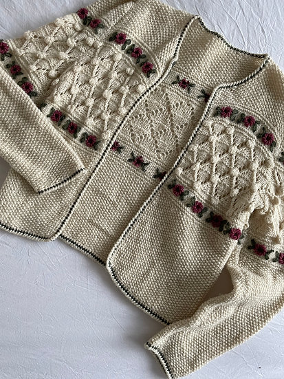 Embroidered Bobble Knit Cardigan