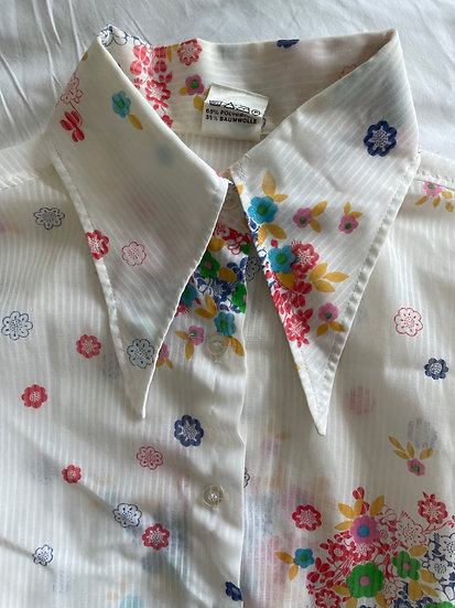 Daggar Collar Floral Print Shirt - size 8