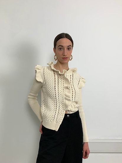 Red Valentino Ruffle Knit Cardigan