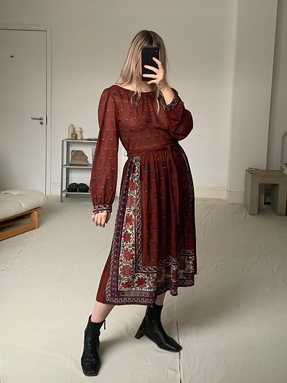 Ethnic Paisley Print Belted Dress