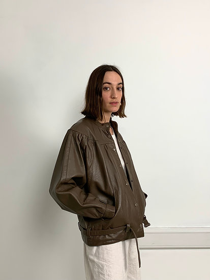 Real Leather Oversized Bomber