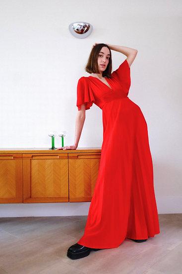Angel Sleeve Pleated Maxi Dress