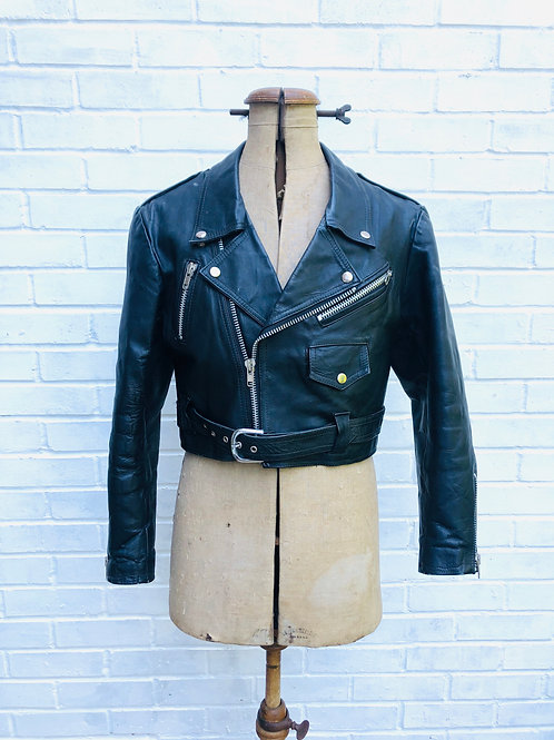Real Leather Cropped Biker Jacket