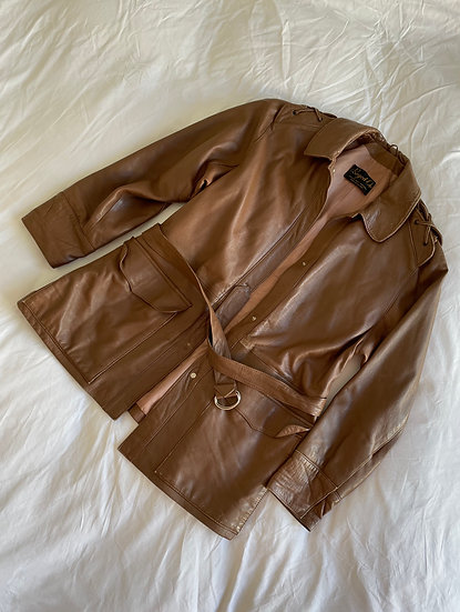 Real Leather Belted Jacket - size 12/14