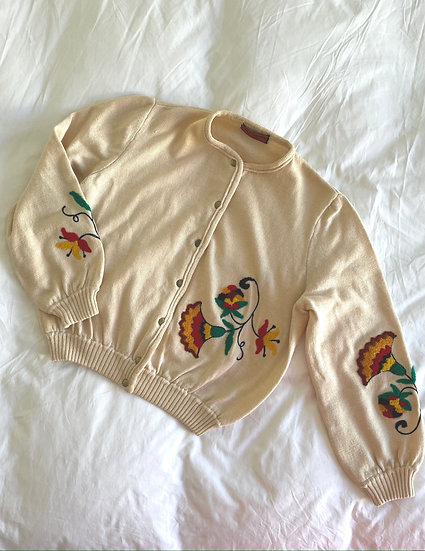Embroidered Cotton Relaxed Cardigan - size 10-14
