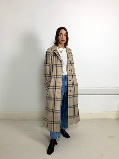 Check Fine Wool Trench