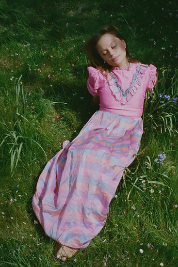 Puffed Sleeve Check Mix Prairie Dress - size 6/8