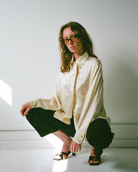 Silk Blend Applique Tassel Front Shirt