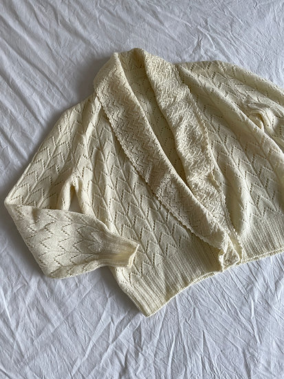 Pure Wool Shawl Collar Pointelle Cardigan