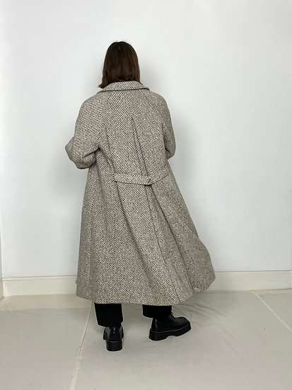 Pure Wool Tweed Long Coat