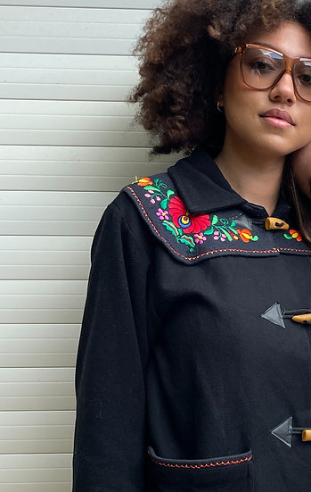 Embroidered Wool Coat - size 14