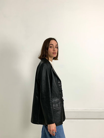 Soft Real Leather Boxy Blazer