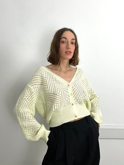 Pointelle Knitted Cardigan
