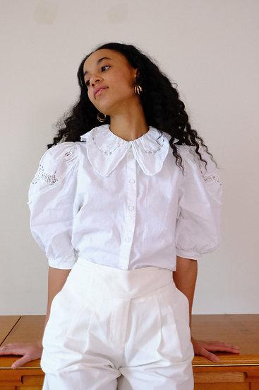 Exaggerated Collar Linen Cotton Crochet Shirt