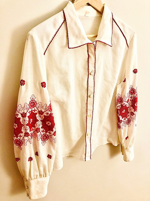 70's craft embroidered blouse
