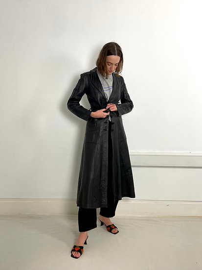Real Leather Longline Trench